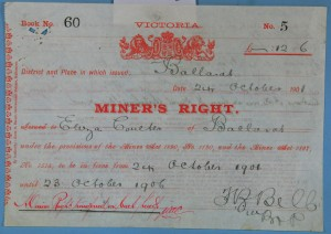 Miner's Right, 1901 (Gold Museum collection, 05.1199)