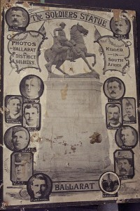 Poster of Boer War Soldiers Statue in Ballarat, featuring portraits of Ballarat and district soldiers killed in South Africa. Image: Ballarat Historical Society Photograph Collection (173.80)
