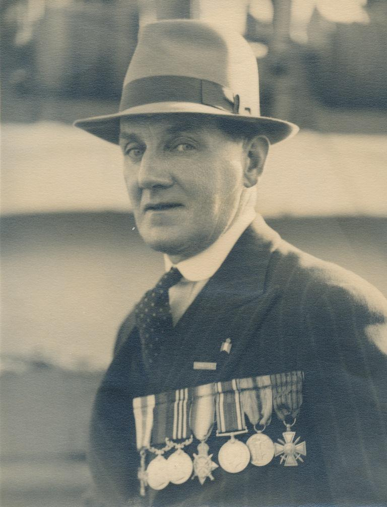 Percy Lay wearing his medals (Gold Museum collection, 83.0409)