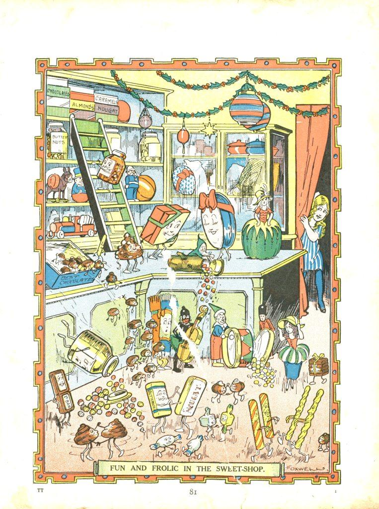 Fun and frolic in the sweet shop, Tiger Tim's Annual 1928 (Gold Museum collection, 94.0426)
