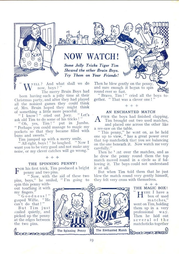 Now watch! New tricks to try on friends, Tiger Tim's Annual 1928 (Gold Museum collection, 94.0428)