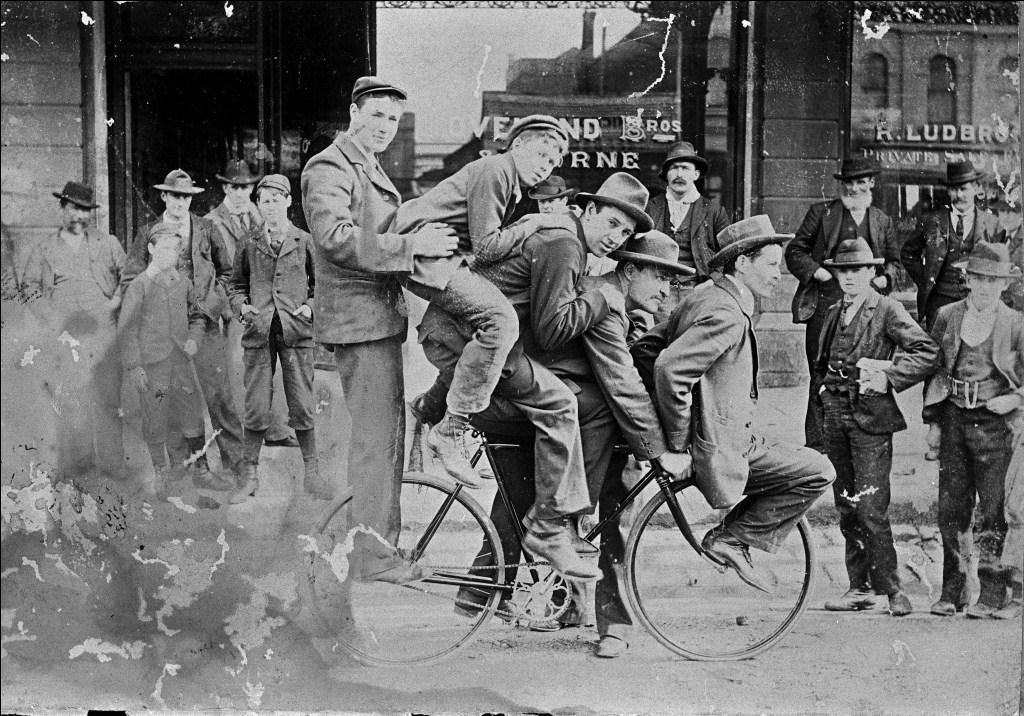 Five Men a Bicycle in Front of Loveland Brothers Bicycle Manufacturers, North Ballarat, Victoria, 1900