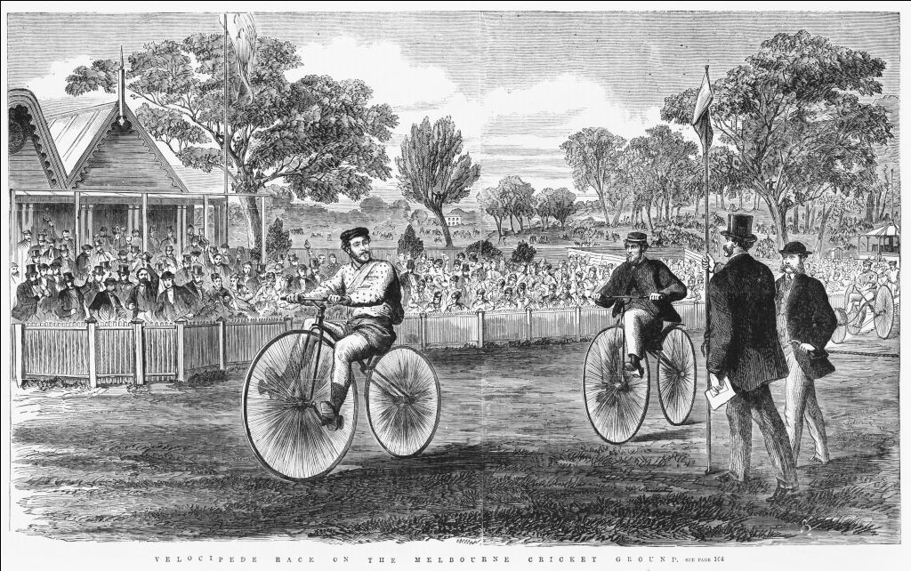 First velocipede race at Melbourne Cricket Ground, 1869 (State Library of Victoria collection IAN14/08/69/161)