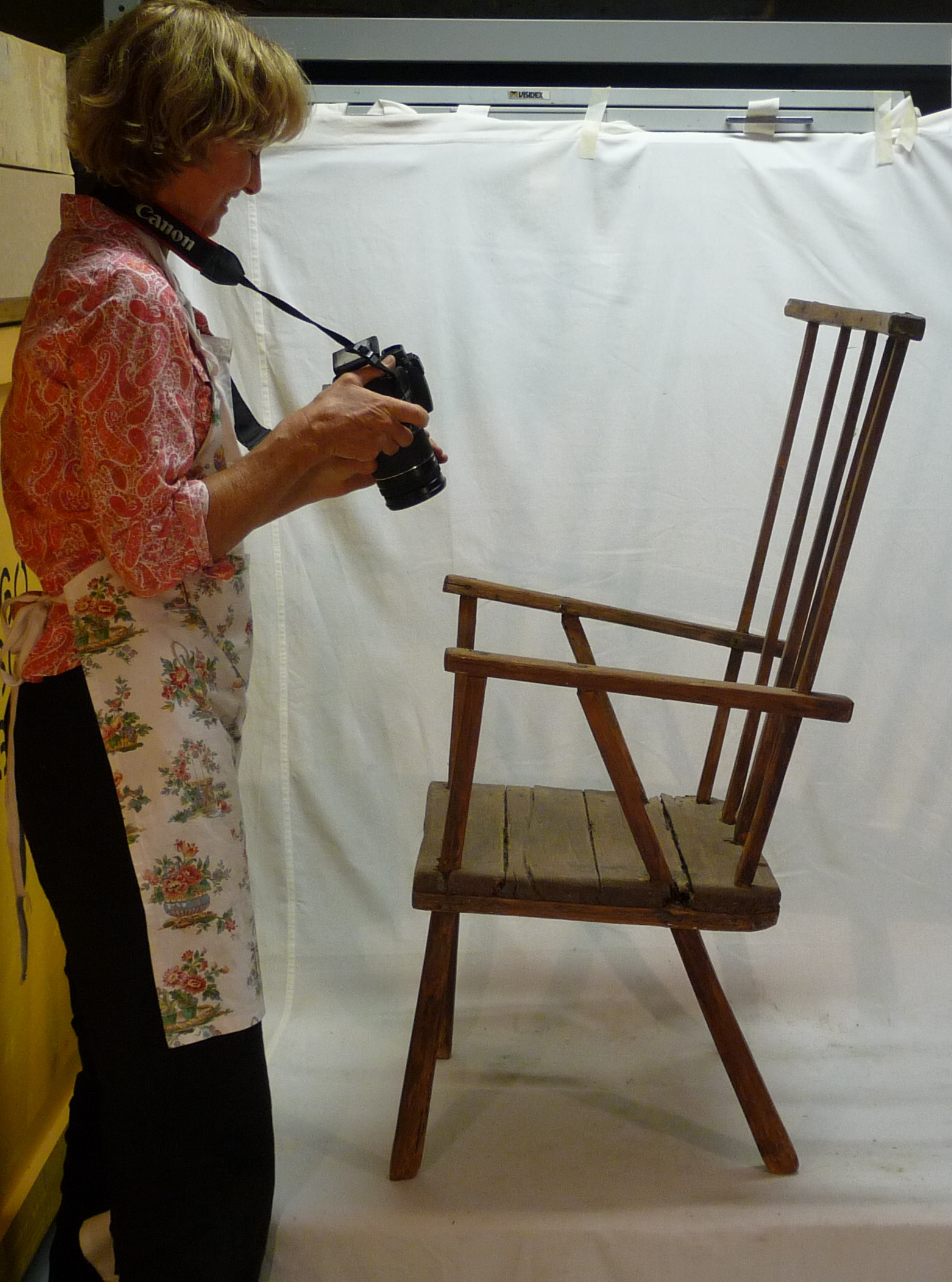 Margaret photographing a chair from the Geddes Collection (Photo: Liz Marsden)