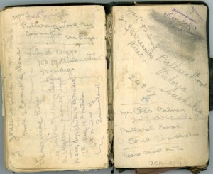 Pages from Percival Carl Minifie's diary (Gold Museum collection, 2014.0848)