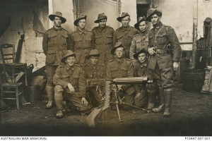 Group portrait of the No. 4 Section, 2nd Machine Gun Company. Lieutenant Minifie is on the far right (Courtesy of the Australian War Memorial, P10447.007.001)