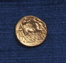 Obverse of stater coin from Ancient Greece, 359-336 BC (Gold Museum collection, 76.0144)