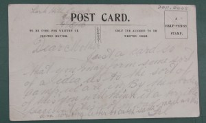 Postcard from Harry to his mother, 4 August 1916 (Gold Museum collection, 2011.0448)
