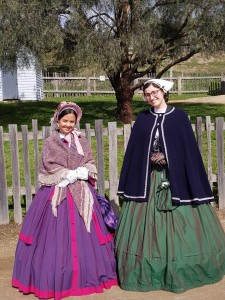 Natalie Carfora (right) with historian Carissa in costume at Sovereign Hill