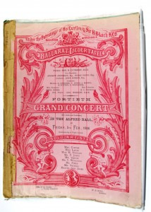 Ballarat Liedertafel concert program, F.W Niven, 1886 (Ballarat Historical Society collection, 78.2193)