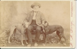 Elderly man with greyhounds, circa 1880 (Gold Museum collection, 70.4008)