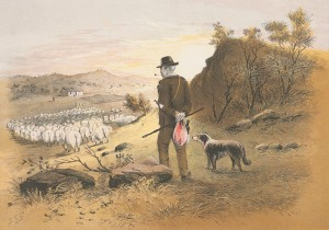 Faithful sheep dog with its owner, S.T Gill (Gold Museum collection, 99.0012)