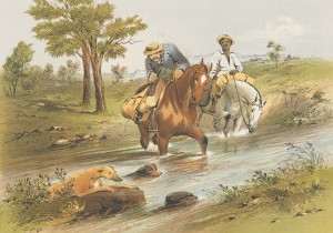 Search dogs assist a worker and Indigenous guide on the goldfields, S.T Gill (Gold Museum collection, 99.0012)