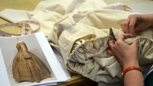 Costume department creating a toile from an original 1850s day dress (Photography: Chris Faithill)