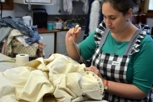 Naomi in the process of constructing the replica dress ((Photography: Chris Faithill)